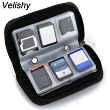 Velishy 1PC Solid SD SDHC MMC CF For Micro SD Memory Card Carrying Pouch bag Case Holder Wallet Black Protector(China)