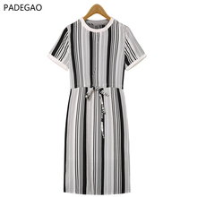 2017 Knee-length Summer Dress Sleeveless O-neck Striped Loose Women Dress Regular Sleeve Natural Waistline Dress(China)