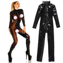 Buy S-XXL Black Sexy Zipper Latex Wetlook Catsuit Gothic Faux Leather Bodysuit Cat Women Fetish PVC Jumpsuit Club DS Dance Costume