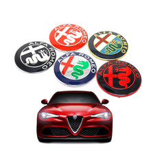 2pcs Black white New 74mm 7.4cm ALFA ROMEO Car Logo emblem Badge sticker for ALFA ROMEO Mito 147 156 159 166 Giulietta Spider GT(China)