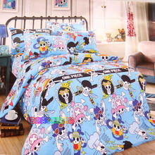 New 100%cotton twin/full/queen size anime one piece bedding set 3/4pcs kids children cartoon pirate bed set without filler(China)