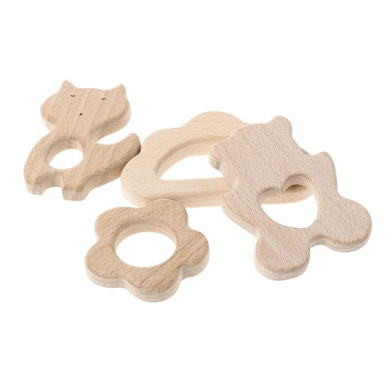 Wooden Organic Teether Deer Shaped Teething Nursing Baby Grasp Chew Dental Care