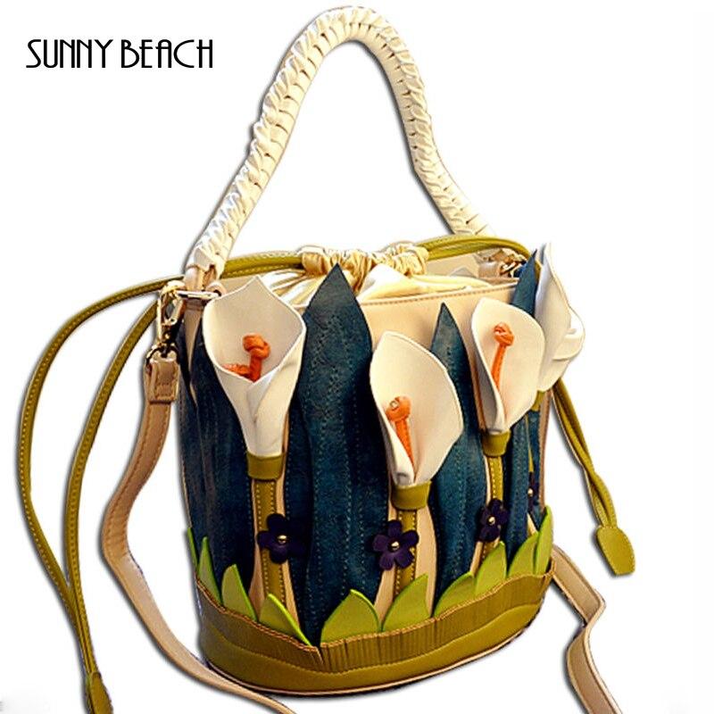 Unique vivid Three dimensional flower bag women handbag pu leather barrel bag floral bucket bag<br><br>Aliexpress