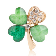 Green Four Leaf Clover and Rhinestones Lapel Pins or Brooches for Women or Men in Assorted Designs(China)