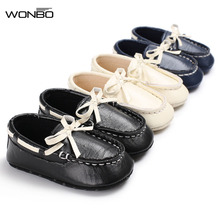 Fashion Leisure Newborn Baby Boy solid PU leather Shoes Loafer bow Infant First Walkers Soft Sole Toddler baby moccsasins shoes(China)