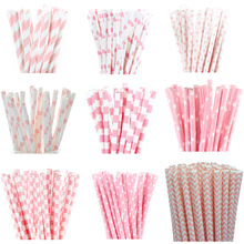 25pcs Light Pink Paper Straws for Baby Shower Wedding Party Kids Birthday Party Decoration Supplies Paper Drinking Straws
