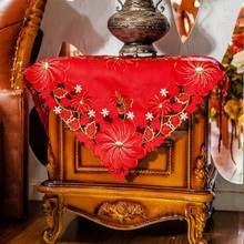 85x85cm Table Cloth Red Embroidered Bedside Cabinet Refrigerator Cover Satin Fabric Wedding Tablecloth Square and Round For Home