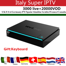 Wechip V7 Android 7.1 3G/32G smart tv box+Italy IPTV 3000 live+20000 VOD XXX channels H.265 4K HDMI 2.0 Android tv box free ship(China)
