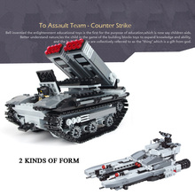 Modern Military world war Future assault team 2in1 Marine rocket gun tank building block army figures bricks toys for boys gifts(China)