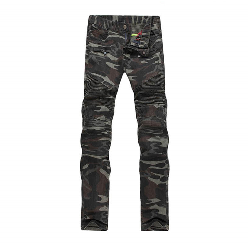 New Mens Camouflage Jeans Motocycle Camo Military Slim Fit Famous Designer Biker Jeans With Zippers MenОдежда и ак�е��уары<br><br><br>Aliexpress