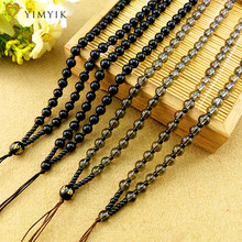 YimYik Ice Kind of Color Black Six Mantra Necklace Rope Obsidian Necklace Rope Buddhist Ornaments Jewelry Accessories(China)