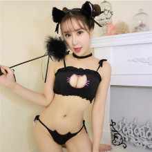 Buy Erotic Lingerie Women Sex Underwear Corset+Panty+Collar Sexy Costumes Set Cute Cat Porn Babydoll Dress Open Cup Bra Sleepwear PJ