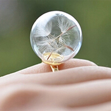 10pcs 14MM/16MM Glass Bubble Dandelion Ring glass ball rings Real Dandelion seeds rings