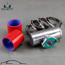 "RED 2.5"" Aluminum Adapter Pipe for 30PSI BOV +2* silicone hose+4* clamps kit RED(China)"