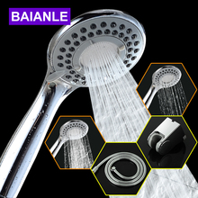 Baianle Three-Function ABS Chrome Finish Water Saving High Pressure Plastic Bathroom Hand Held Round Shape Shower Head(China)