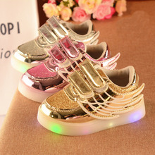 2017 Children casual Fashion with wing style shoes Kids Boys Girls Shoes Board PU Shoes with LED Lighted 3colors 21-30 TX07