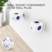 1 Piece Allocacoc Wall Socket Convenient 4 USB Wall Plug Outlets Power Cube Socket With USB Ports Adapter - 16A 250V For Home(China)