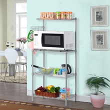 Langria 3-Tier Baker's Rack Microwave Oven Rack with Shelf 3 layer Metal Mesh Multifunctional Storage Shelving Rack for Kitchen