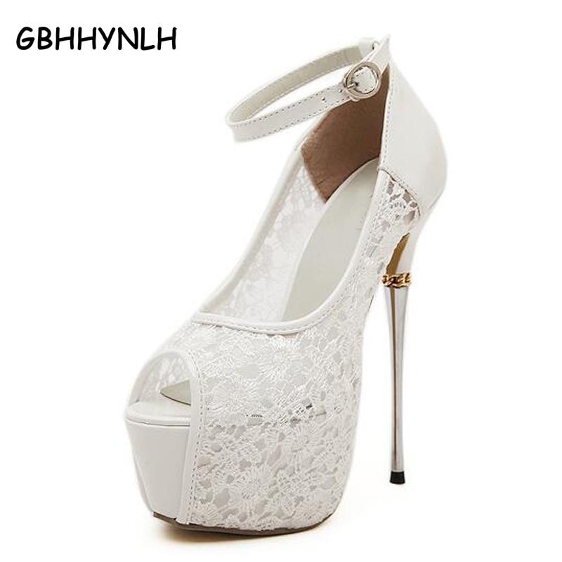 women summer sandals lace pumps women party shoes platform pumps white wedding shoes stiletto heels open toe dress shoes LJA22<br>