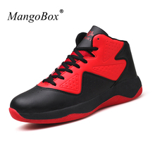 Mangobox 2017 New Mens Sneakers Basketball Trainers Pu Leather Sport Shoes Red Black Comfortable Men Basketball Boots(China)