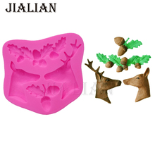 Cake fondant silicone mold 3D Christmas Elk Deer Acorn leaves Soap Moulds Cake Decorating Tools T0813(China)