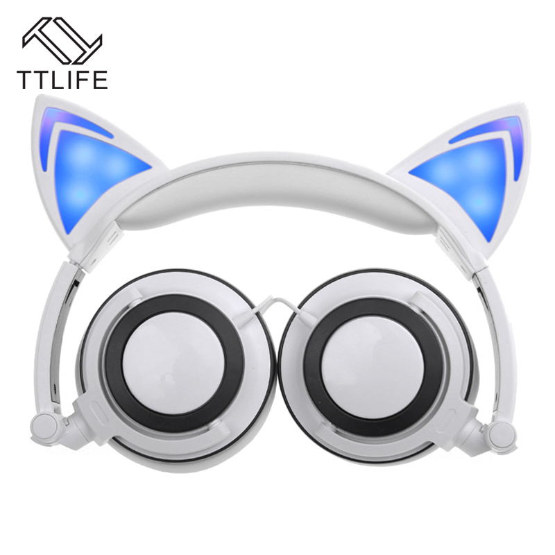 TTLIFE 3.5mm Cute Cat Ears Wired Headphones Cartoon Style Folding LED Flashing Headband Headset Super Colorful Auriculares<br><br>Aliexpress