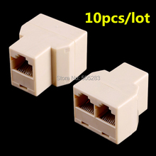 10pcs Two Way RJ45 Splitter Connector CAT5 CAT6 LAN Ethernet Splitter Adapter 8P8C Network modular plug for PC laptop HY205*10