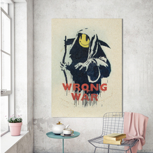 HDARTISAN Graffiti Canvas Art Wall Pictures For Living Room Banksy Smiling Azrael Wrong War Copy Modern Painting Home Decor(China)
