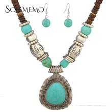 Fashion Tibetan Style Jewelry Malaysia Imports Natural Coconut Shell Vintage Blue Stone Necklaces Earring Sets TL9546(China)