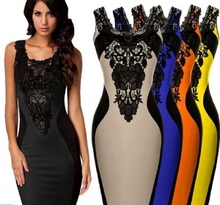 Women's Flower Lace Dress Cocktail Party Color Blocking Slim Dress Marketable(China)
