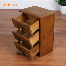 New Arrival Three layer Retro Small Wood Storage Cabinet Drawers Home Organizer Natural Antique Wooden Box with Zinc handles
