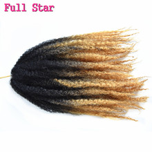 "Full Star 6pc 18"" DIY Synthetic Ombre brown Color Braiding Hair Extensions Afro Kinky Curly Twist Crochet Braids 100g/pack(China)"