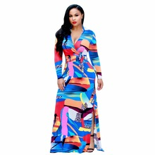 Adogirl Fashion Geometric Colorblock European And American Style Dress Long Sleeve Maxi Bohemian Style Casual Floral Dress Beach(China)