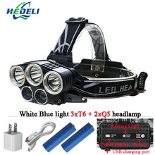 Blue light white USB 5 led headlamp head lamp headlight CREEXM L T6 Q5 15000 lumens powerful led flashlight head torch lamp(China)