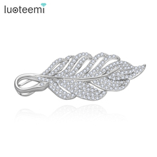 LUOTEEMI Wholesale Jewelry Supplier New Luxury Fashion Brooches Leaves Korea Style Tree Leaf CZ Wedding Bridal White Gold-Color