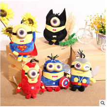 6pcs/lot 22cm 3D Eyes Despicable Me Brinquedos Minion Captain America Superman Spider-Man Batman Plush Toys Discount Avengers