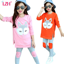 LZH 2017 Autumn Winter Kids Girls Clothes Set Fox Print T-shirt+Pants 2pcs Outfits Teenagers Girls Sport Suit Children Clothing