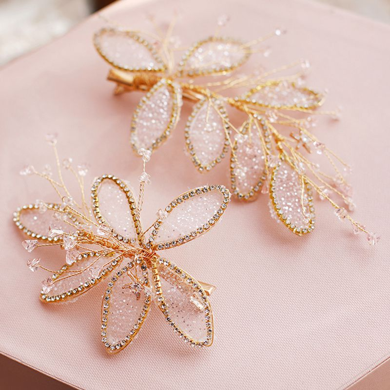 TANGTANG Hair Claws Leafs Beaded Clips Handmade Crystal Pair of Flower Super-fairy Sequins Wedding Headdress Bride Hair Ornament