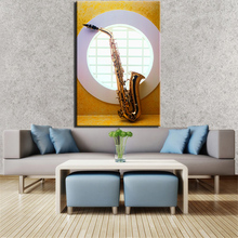 Saxophone In Round Window Photograph  Painted Wall painting print on canvas for home decor oil painting arts No framed