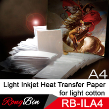A4 Light Inkjet Heat Transfer Paper Sublimation Paper on White Cotton T-Shirt Light Cotton Fabric for Heat Transfer Print 100pcs
