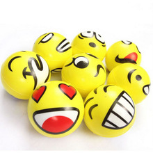 1PCS Dia 7.5cm Stress Ball Novetly Emoji Smile Print Squeeze Ball Hand Wrist Exercise Stress Ball PU Rubber Toy Balls