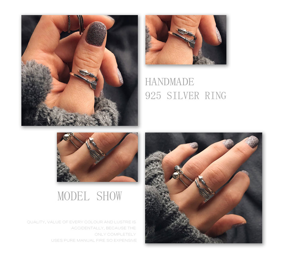 925 Sterling Silver Cupid Ring in hands