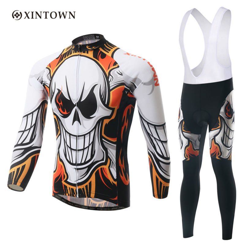 XINTOWN Men Jersey Set Cycling Thermal Fleece MTB Cycling Jersey Invierno  Ciclismo Hombre Jersey Bib Pants Cool Dark Fire <br><br>Aliexpress