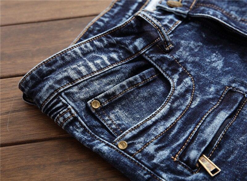 Mootorratturite stiilis teksapüksid meestele