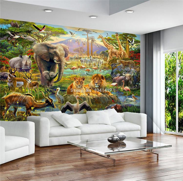 HTB12pdpSVXXXXaiapXXq6xXFXXXo - Custom Mural Wallpaper 3D Children Cartoon Animal World Forest Photo Wall Painting Fresco Kids Bedroom Living Room Wallpaper 3 D
