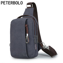 Peterbolo Men's Vintage Canvas Shoulder Bag Retro men Crossbody Bag Single-Strap chest Bag