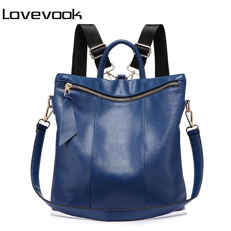 LOVEVOOK brand genuine leather women backpack large travel backpack multifunctional school backpack for girls shoulder bag<br>