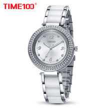 Time100 Fashion Women's Quartz Watches Simulated Ceramic Watch Diamond Ladies Casual white Bracelet Watches relogios femininos(China)
