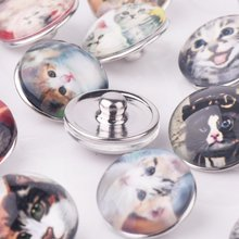 18mm 12 Pcs Snap On Charms for Bracelet Necklace Hot Sale DIY Jewelry Findings Faceted Glass Snap Button Lovely Cat Design(China)