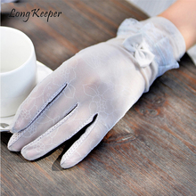 Long Keeper Ladies Ice Silk Lace Gloves For Party Show Women UV Protection Summer Gloves Mitten guantes mujer Full Finger Gloves(China)